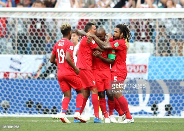 Felipe Baloy of Panama celebrates with teammates after scoring his team's first goal during the 2018 FIFA World Cup Russia group G match between...