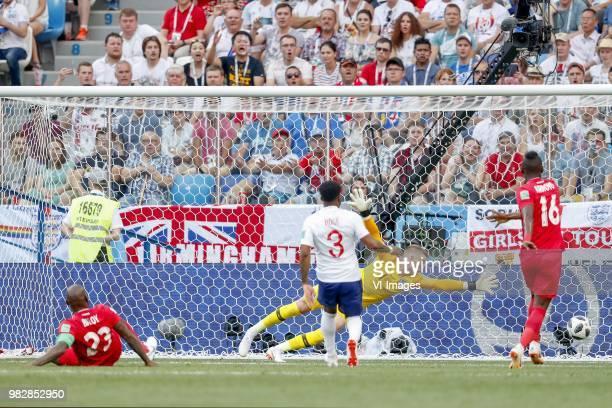 Felipe Baloy of Panama Danny Rose of England goalkeeper Jordan Pickford of England Abdiel Arroyo of Panama 61 First goal ever scored goal by Panama...