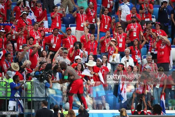 Felipe Baloy of Panama goes to the fans at the end of the 2018 FIFA World Cup Russia group G match between England and Panama at Nizhny Novgorod...