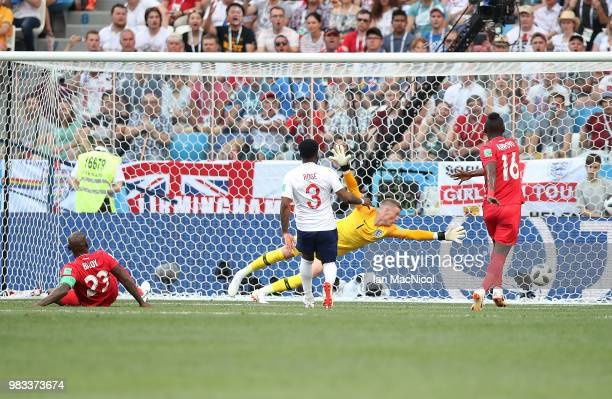 Felipe Baloy of Panama scores his team's first ever goal at the World Cup during the 2018 FIFA World Cup Russia group G match between England and...