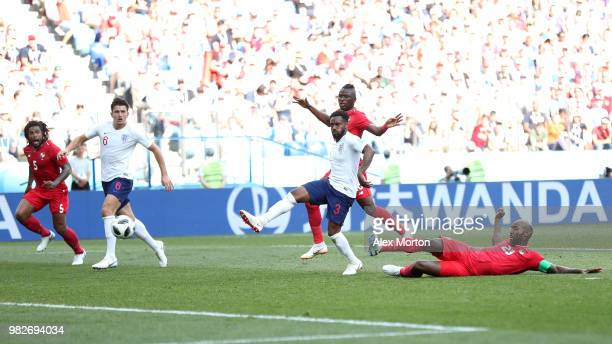 Felipe Baloy of Panama scores his team's first goal during the 2018 FIFA World Cup Russia group G match between England and Panama at Nizhny Novgorod...