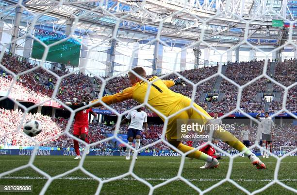 Felipe Baloy of Panama scores past Jordan Pickford of England his team's first goal during the 2018 FIFA World Cup Russia group G match between...