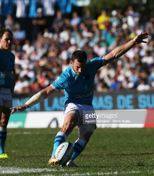 Felipe Berchesi of Uruguay scores a penalty during the Rugby World Cup 2019 qualifier match at Estadio Charrua on February 3 2018 in Montevideo...