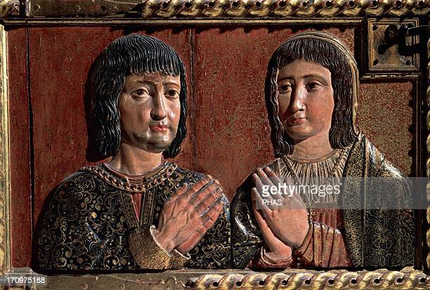 Felipe Bigarny Spanish architect and sculptor of Burgundian origin Relief depicting the Catholic Monarchs Isabella and Ferdinand Polychromed wood...