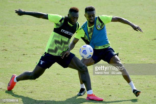 Felipe Caicedo and Juan Daniel Akpa Akpro of SS Lazio during the SS Lazio training session at the Formello sport center on September 18, 2020 in...