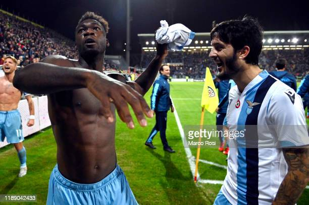 Felipe Caicedo and Luis Alberto of SS Lazio celebrate after winning the Serie A match between Cagliari Calcio and SS Lazio at Sardegna Arena on...
