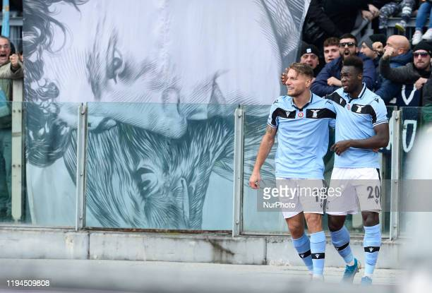 Felipe Caicedo celebrates under Curva Nord with Ciro Immobile after scoring goal 20 during the Italian Serie A football match between SS Lazio and UC...