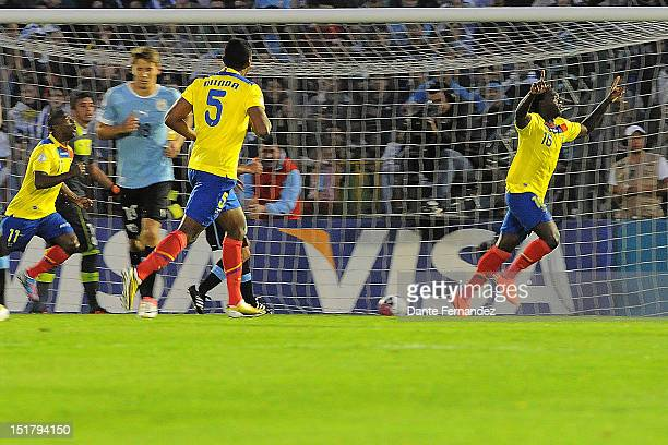 Felipe Caicedo from Ecuador celebrates his goal during a match between Ecuador and Uruguay as part the South American Qualifiers for the FIFA Brazil...