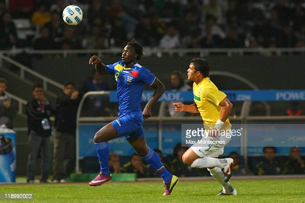 Felipe Caicedo from Ecuador fights for the ball with Thiago Silva from Brazil during a match between Brazil and Ecuador as part of the Group B of the...