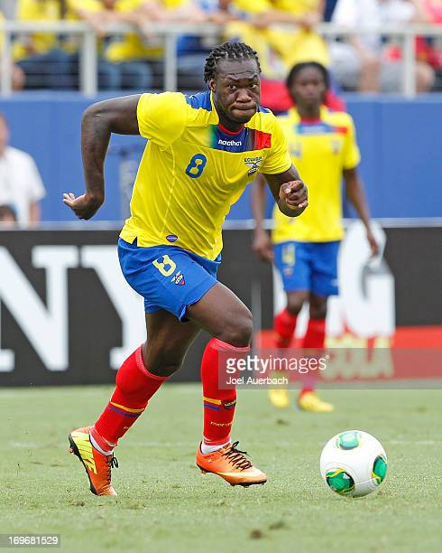 Felipe Caicedo of Ecuador brings the ball upfield against Germany during an International friendly on May 29 2013 at FAU Stadium in Boca Raton...