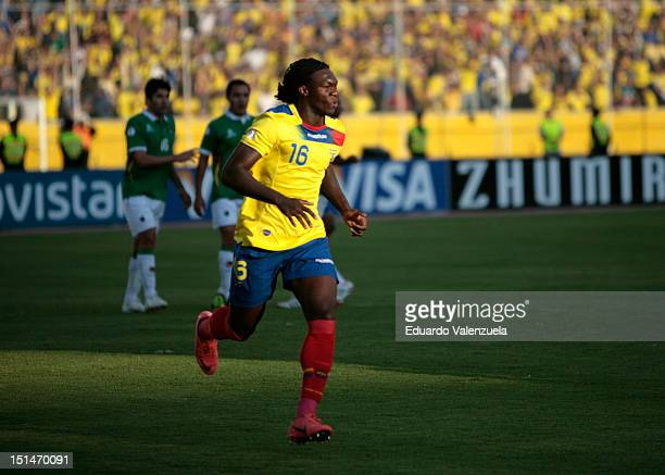 Felipe Caicedo of Ecuador celebrates a goal during a match between Ecuador and Bolivia as part of the South American Qualifiers for the FIFA Brazil...