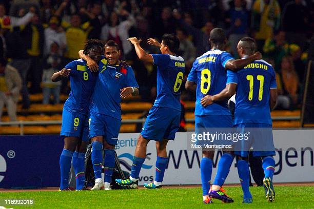 Felipe Caicedo of Ecuador celebrates after scoring against Brasil during a match as part of group B of 2011 Copa America at Mario Alberto Kempes...