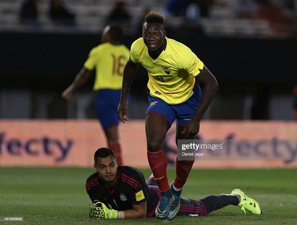 Felipe Caicedo, of Ecuador, celebrates after scoring the second goal during a match between Argentina and Ecuador as part of FIFA 2018 World Cup Qualifier at Monumental Antonio Vespucio Liberti Stadium on October 08, 2015 in Buenos Aires, Argentina.