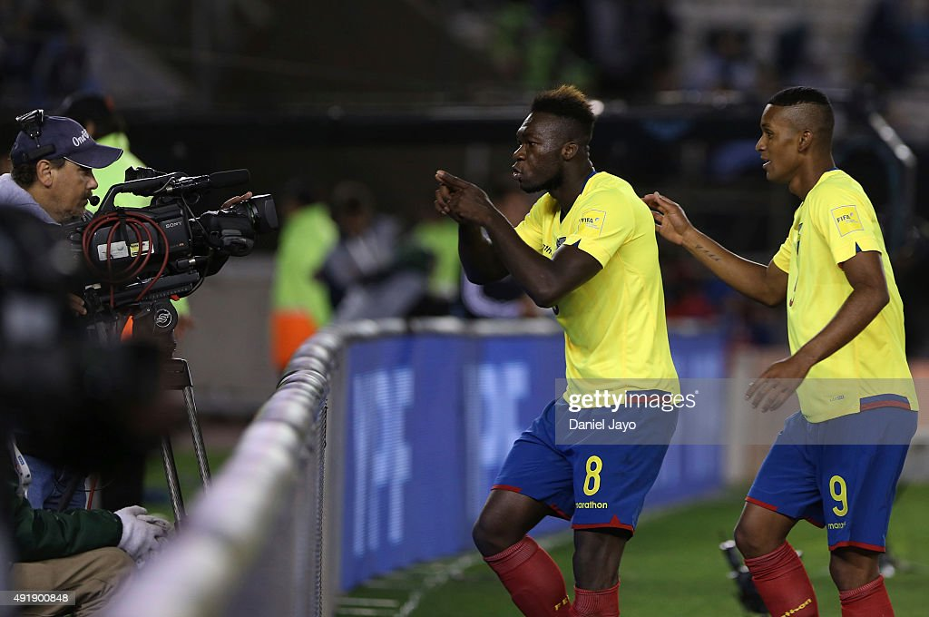 Felipe Caicedo, of Ecuador, (L) celebrates after scoring the second goal during a match between Argentina and Ecuador as part of FIFA 2018 World Cup Qualifier at Monumental Antonio Vespucio Liberti Stadium on October 08, 2015 in Buenos Aires, Argentina.