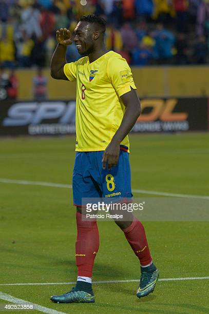 Felipe Caicedo of Ecuador celebrates after scoring the second goal of his team through a penalty during a match between Ecuador and Bolivia as part...