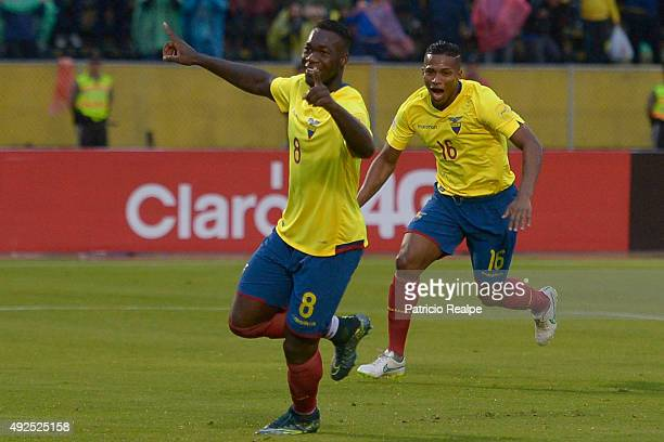 Felipe Caicedo of Ecuador celebrates after scoring the second goal of his team during a match between Ecuador and Bolivia as part of FIFA 2018 World...