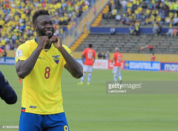 Felipe Caicedo of Ecuador celebrates after scoring the third goal of his team during a match between Ecuador and Chile as part of FIFA 2018 World Cup...