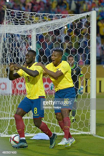 Felipe Caicedo of Ecuador celebrates with Antonio Valencia after scoring the second goal of his team through a penalty during a match between Ecuador...