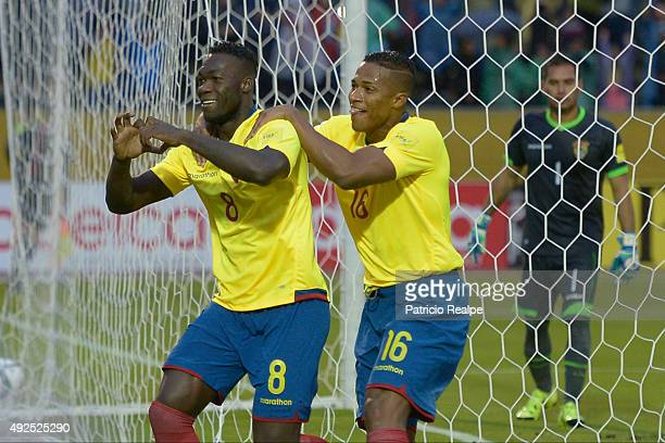 Felipe Caicedo of Ecuador celebrates with Antonio Valencia after scoring the second goal of his team through a penalty during a match between Ecuador...