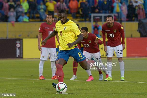 Felipe Caicedo of Ecuador takes a penalty to score the second goal of his team during a match between Ecuador and Bolivia as part of FIFA 2018 World...