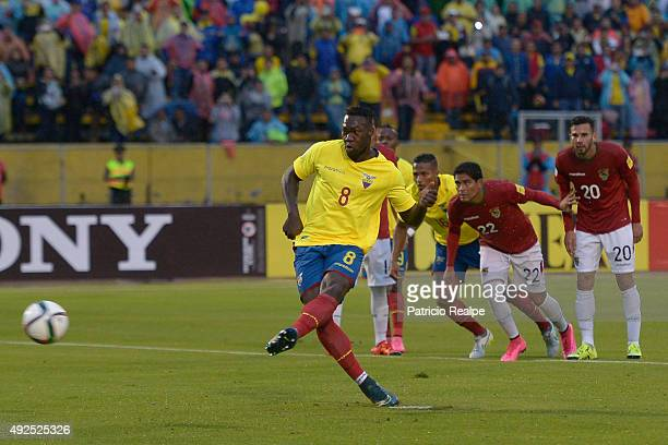 Felipe Caicedo of Ecuador takes a penalty to score the second goal of his team during a match between Ecuador and Bolivia as part of FIFA 2018 World...
