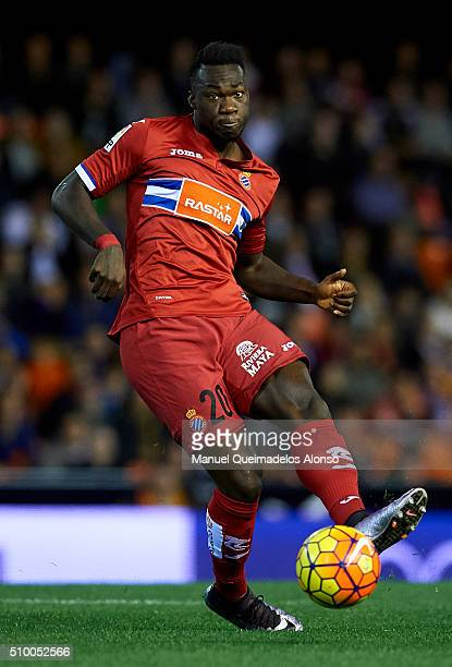 Felipe Caicedo of Espanyol in action during the La Liga match between Valencia CF and RCD Espanyol at Estadi de Mestalla on February 13 2016 in...