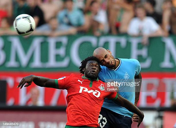Felipe Caicedo of FC Lokomotiv Moscow battles for the ball with Steeve JosephReinette of FC Krylia Sovetov Samara during the Russian Premier League...