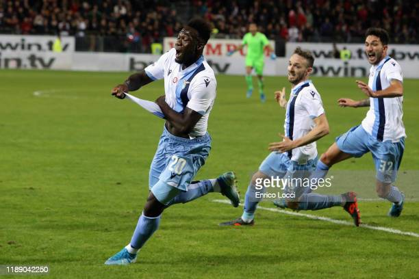 Felipe Caicedo of Lazio celebrates his goal 12 during the Serie A match between Cagliari Calcio and SS Lazio at Sardegna Arena on December 16 2019 in...