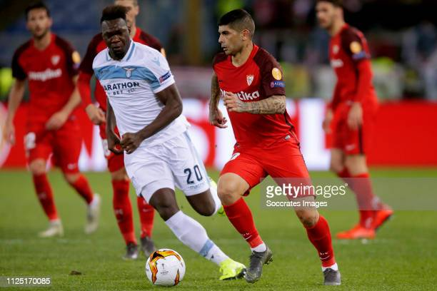 Felipe Caicedo of Lazio Roma Ever Banega of Sevilla FC during the UEFA Europa League match between Lazio v Sevilla at the Stadio Olimpico Rome on...