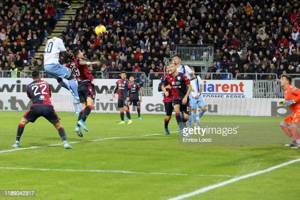 Felipe Caicedo of Lazio scores his goal 12 during the Serie A match between Cagliari Calcio and SS Lazio at Sardegna Arena on December 16 2019 in...