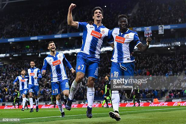 Felipe Caicedo of RCD Espanyol celebrates with his team mate Gerard Moreno after scoring his team's first goal during the La Liga match between RCD...