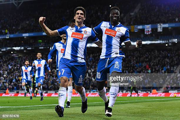 Felipe Caicedo of RCD Espanyol celebrates with his teammates after scoring his team's first goal during the La Liga match between RCD Espanyol and...