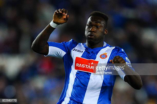 Felipe Caicedo of RCD Espanyol looks on during the La Liga match between Real CD Espanyol and Celta Vigo at CornellaEl Prat Stadium on April 19 2016...