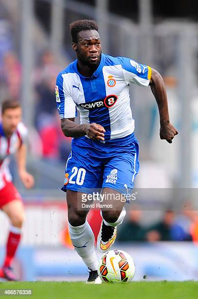 Felipe Caicedo of RCD Espanyol runs with the ball during the La Liga match between RCD Espanyol and Club Atletico de Madrid at Power 8 Stadium on...
