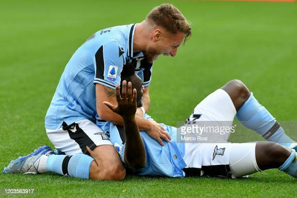 Felipe Caicedo of SS Lazio celbrate a seconf goal with Ciro Immobile of SS Lazio during the Serie A match between SS Lazio and SPAL at Stadio...