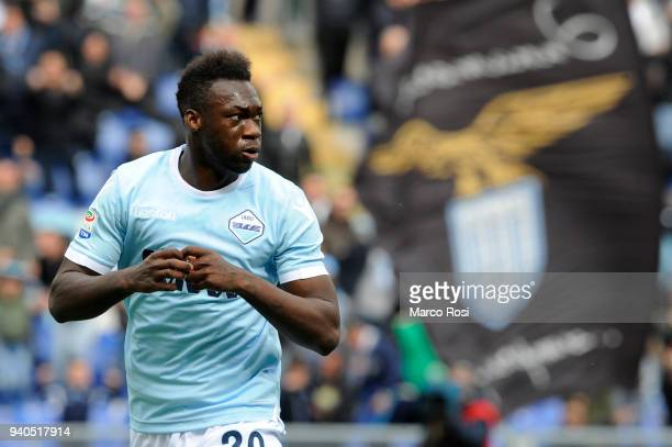 Felipe Caicedo of SS Lazio celebrate a second goal during the serie A match between SS Lazio and Benevento Calcio at Stadio Olimpico on March 31 2018...