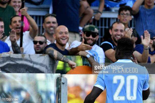 Felipe Caicedo of SS Lazio celebrate a third goal with Ciro Immobile of SS Lazio during the Serie A match between SS Lazio and Genoa CFC at Stadio...