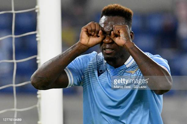 Felipe Caicedo of SS Lazio celebrates a first goal during the Serie A match between SS Lazio and Atalanta BC at Stadio Olimpico on September 30, 2020...