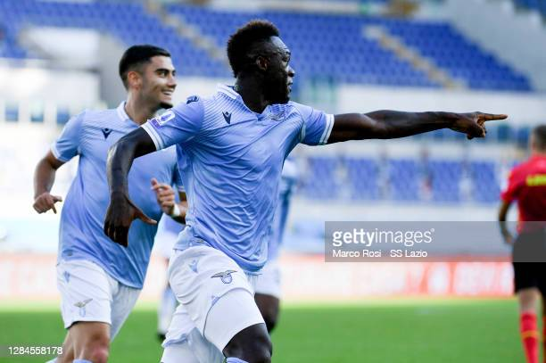 Felipe Caicedo of SS Lazio celebrates a frist goal during the Serie A match between SS Lazio and Juventus at Stadio Olimpico on November 08, 2020 in...