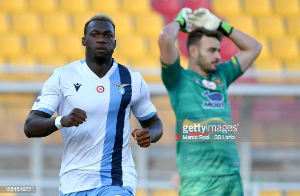 Felipe Caicedo of SS Lazio celebrates a opening gaol during the Serie A match between US Lecce and SS Lazio at Stadio Via del Mare on July 07 2020 in...
