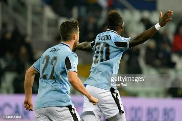 Felipe Caicedo of SS Lazio celebrates a opening goal during the Serie A match between Parma Calcio and SS Lazio at Stadio Ennio Tardini on February...