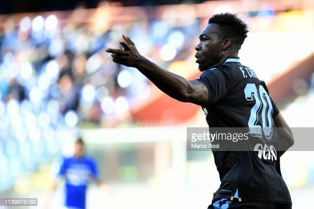 Felipe Caicedo of SS Lazio celebrates a second goal during the Serie A match between UC Sampdoria and SS Lazio at Stadio Luigi Ferraris on April 28...