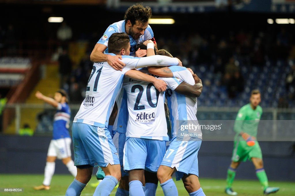 Felipe Caicedo of SS Lazio celebrates a second goal during the Serie A match between UC Sampdoria and SS Lazio at Stadio Luigi Ferraris on December 3, 2017 in Genoa, Italy.