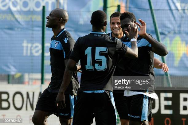 Felipe Caicedo of SS Lazio celebrates a second goal during the pre-season friendly match between SS Lazio and Spal on July 28, 2018 in Auronzo di...