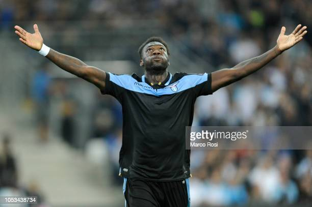 Felipe Caicedo of SS Lazio celebrates a second goal with his team mates during the UEFA Europa League Group H match between Olympique de Marseille...