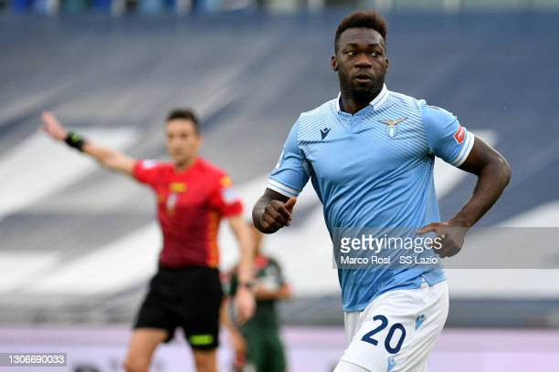 Felipe Caicedo of SS Lazio celebrates a third goal during the Serie A match between SS Lazio and FC Crotone at Stadio Olimpico on March 12, 2021 in...