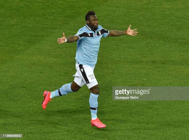 Felipe Caicedo of SS Lazio celebrates after scoring opening goal during the Serie A match between Parma Calcio and SS Lazio at Stadio Ennio Tardini...