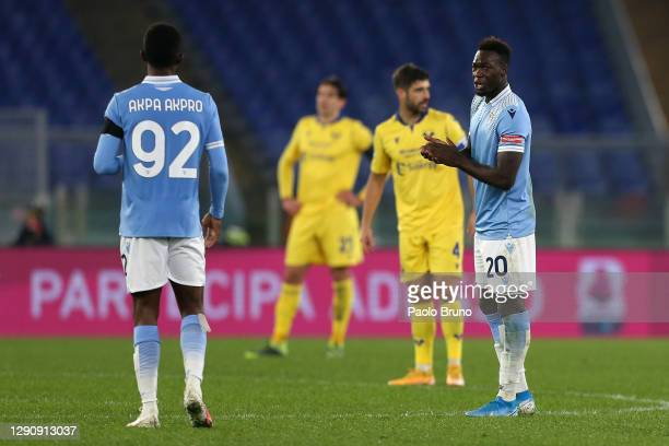 Felipe Caicedo of SS Lazio celebrates after scoring their team's first goal during the Serie A match between SS Lazio and Hellas Verona FC at Stadio...