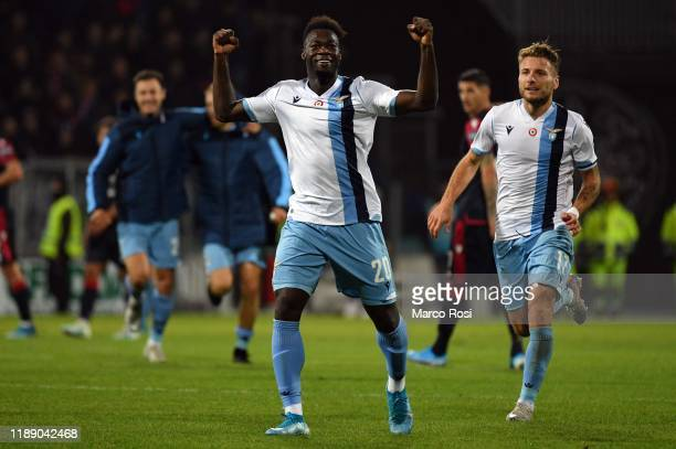 Felipe Caicedo of SS Lazio celebrates after winning the Serie A match between Cagliari Calcio and SS Lazio at Sardegna Arena on December 15 2019 in...