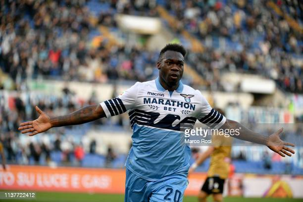 Felipe Caicedo of SS Lazio celebrates the opening goal during the Serie A match between SS Lazio and Udinese at Stadio Olimpico on April 17 2019 in...